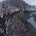 A dreamy landscape painting, depicting a caravan of nomads riding past a purple lake on horseback