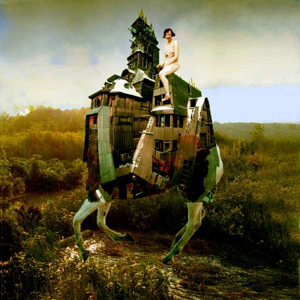 Woman riding a horse house landscape collage art by Sarah Zar, Brooklyn