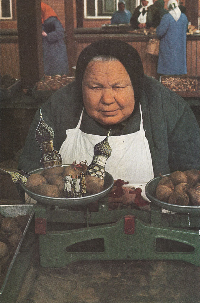 This Russian babushka discovers something strange in her food, when she puts it on the scale. Food Market collage