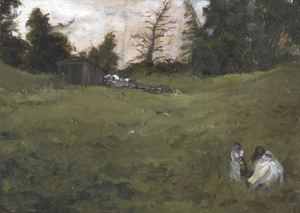 Into The Wild- tiny rural agrarian Landscape painting-Sarah Zar