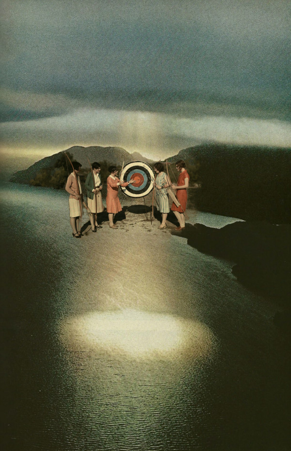 Women conducting target practice and walking on water. The light filters down through the target and reflects onto the water - zen collage art Sarah Zar