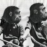 monkeys on bikes, twins colllage
