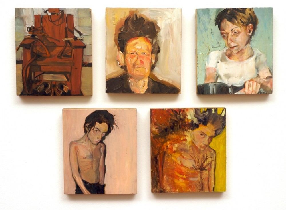 Portraits and electric chair -oil on pine Sarah Zar paintings