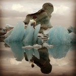 A cold nude woman Stripping off Ice Sarah Zar surreal blue collage