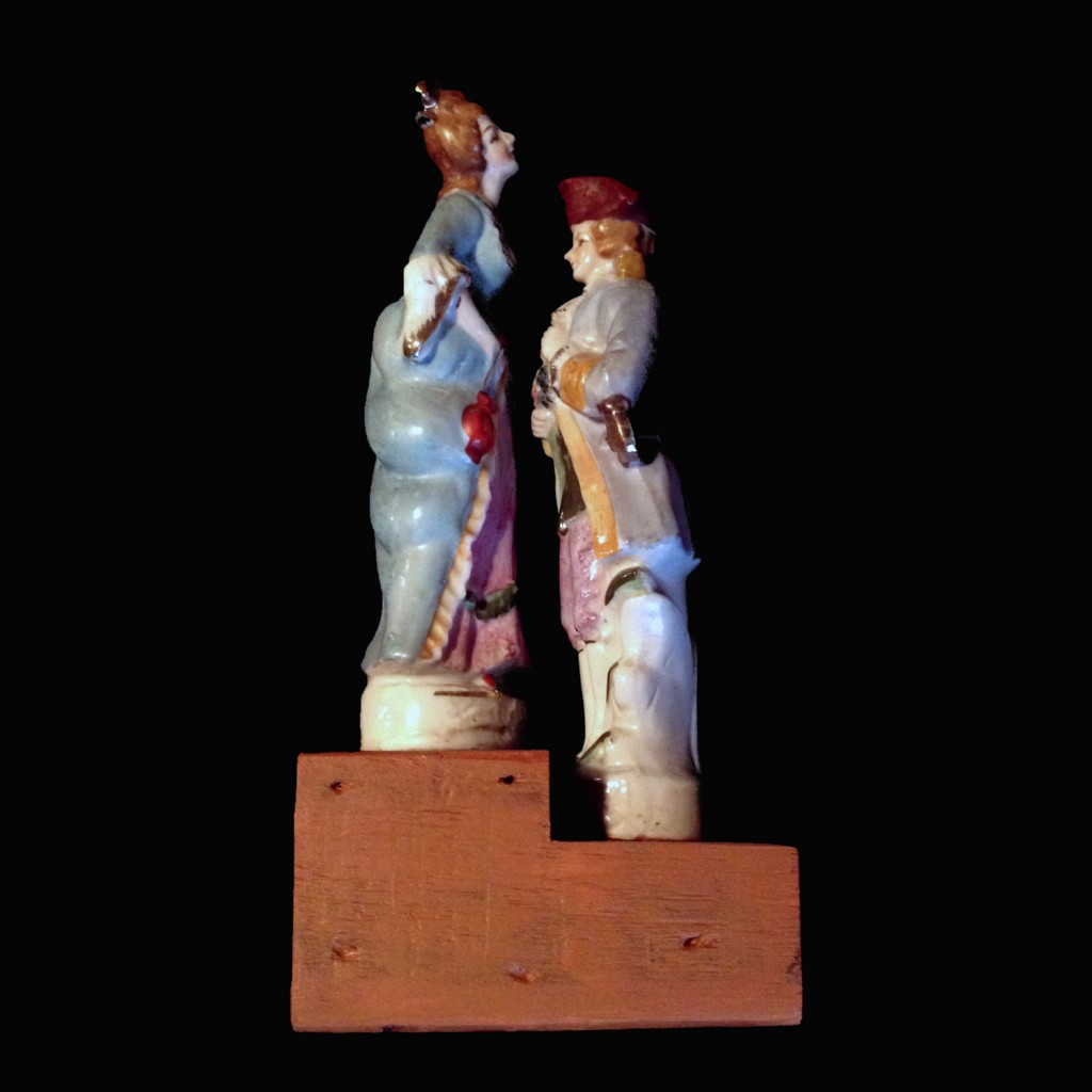This is a ceramic, feminist figural sculpture by Sarah Zar.  It shows a victorian man staring at a woman's chest.