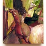 A garishly colored woman locking a bedroom door. A nude figurative painting by Sarah Zar.