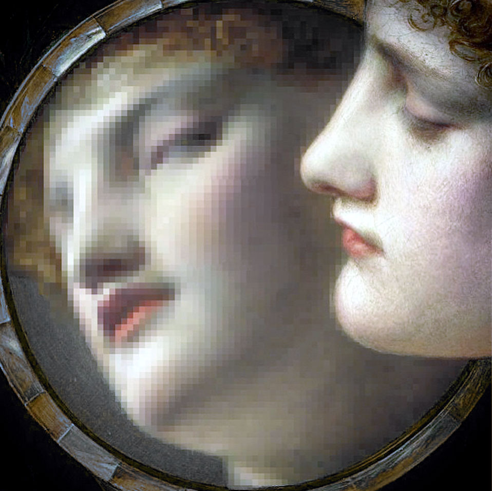 woman looking at pixelated selfie in mirror