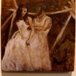A headless groom zips up a bride's dress, outside in a dark field.  This is a surreal miniature oil painting.