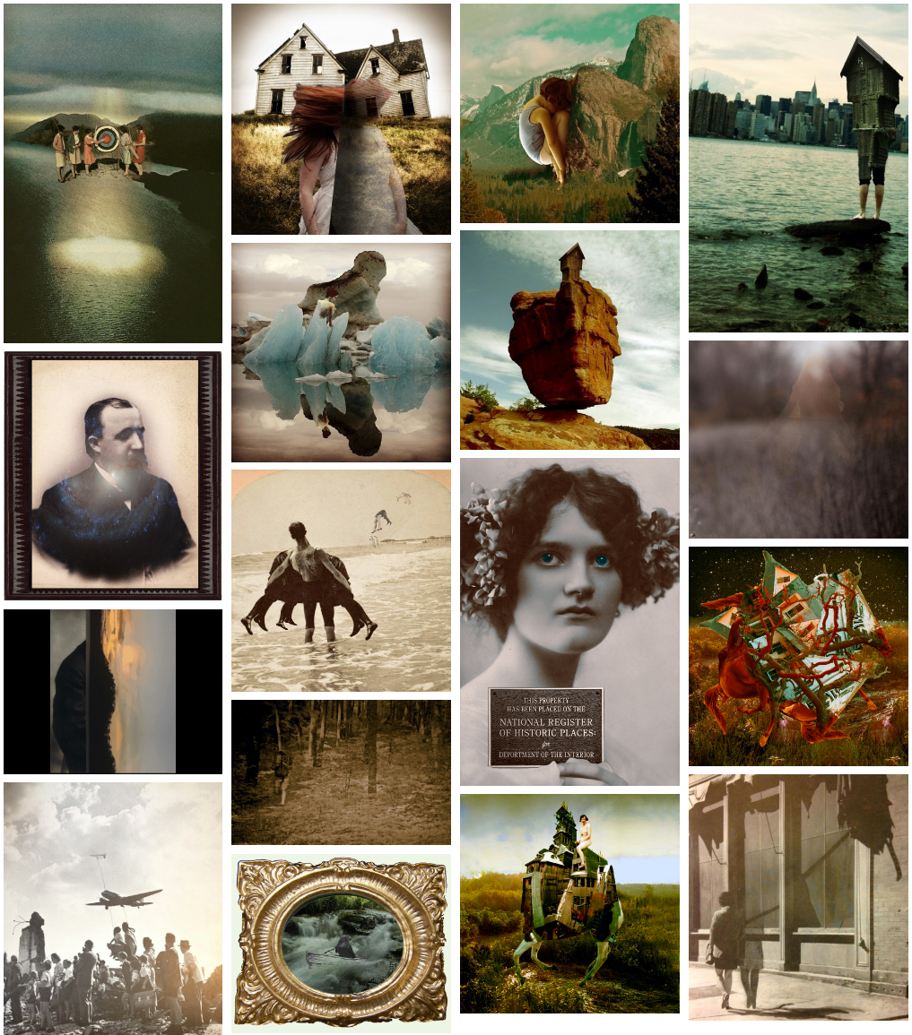 Montage of surrealist collages by artist Sarah Zar