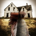 Togetherness collage of a girl in a field with a house, split down the middle. Mental health, falling apart, redhead
