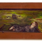 old woman adrift in boat on green water
