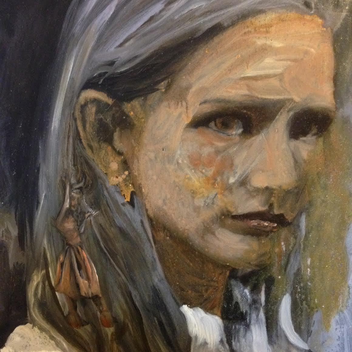 Orange oil painting of a girl with a demon dancing on her shoulder, voodoo style. A Sarah Zar portrait with large brushstrokes.