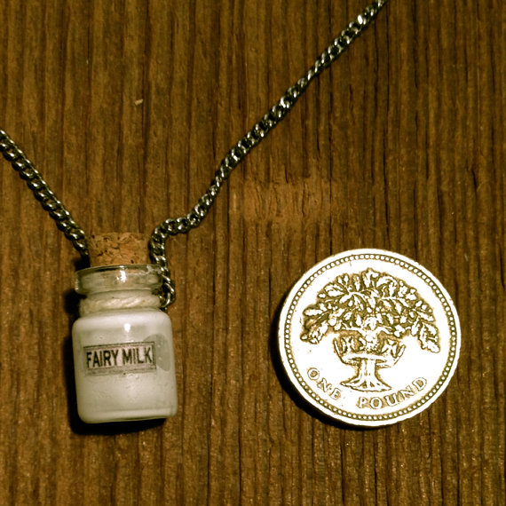 A miniature jug of Fairy Milk on a Necklace