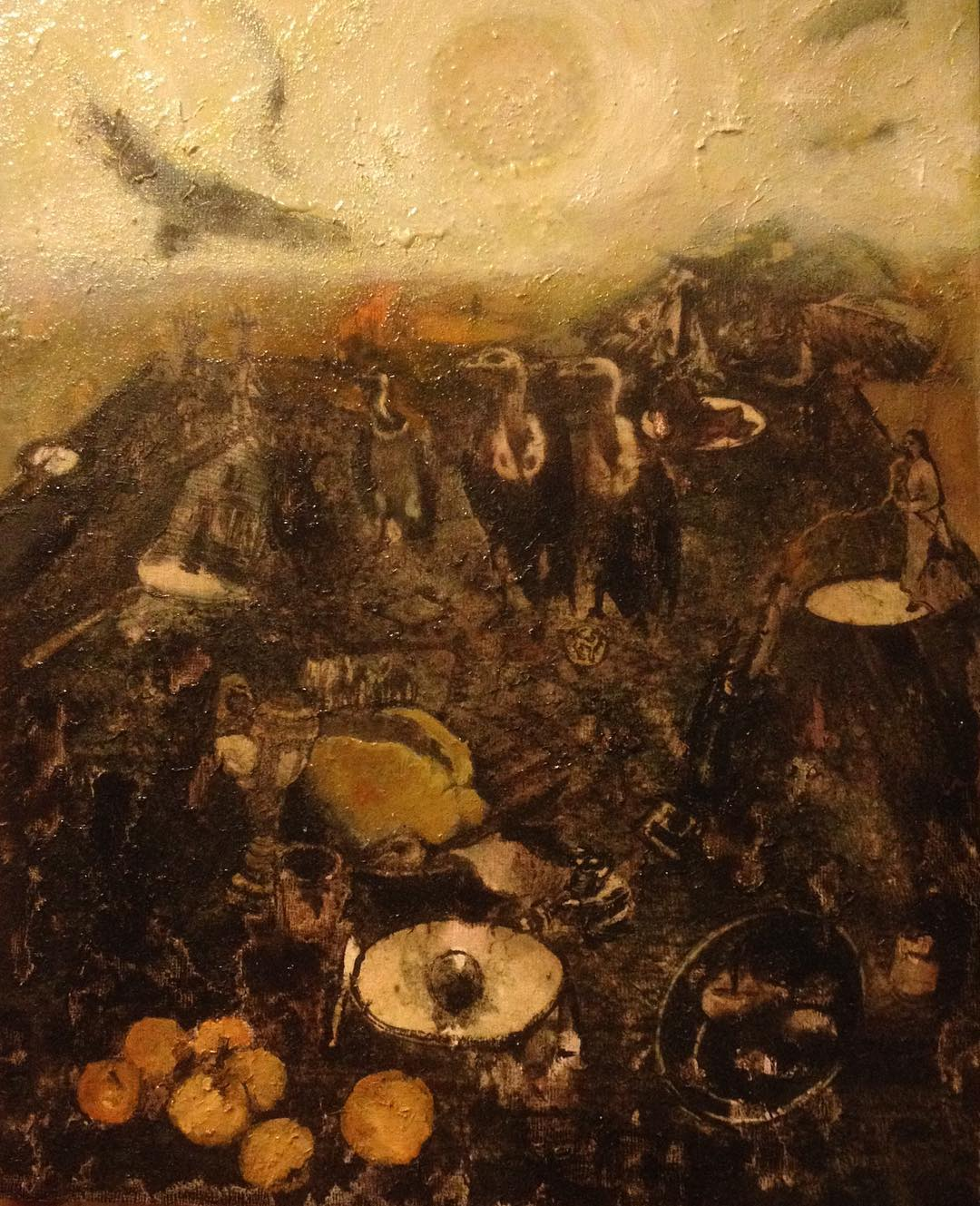 An oil painting of a picnic with vultures by Sarah Zar